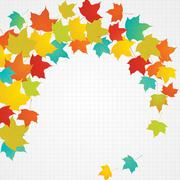 Autumn flying leaves with blank copy space Stock Illustration