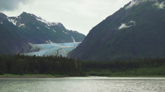 4K UHD Davidson Glacier Alaskan Mountain Scenic from Boat Stock Footage