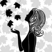 Silhouette of young woman with flying leaves Stock Illustration