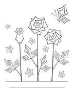 Artistic angular flower line art card - stock illustration