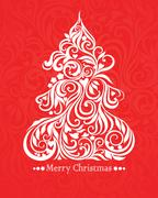 Vector card with christmas tree - stock illustration