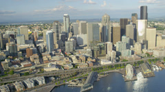 Aerial coastal view of the Columbia Center Alaskan Way Viaduct, Seattle Stock Footage