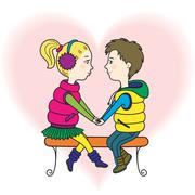 A happy teens couple in love - stock illustration