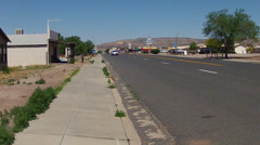 Wide Shot Traffic On Route 66- Seligman Arizona Stock Footage