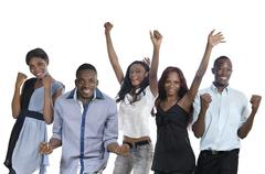 five happy african people cheering - stock photo