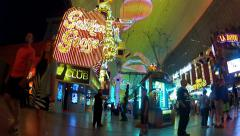 Walking By Golden Goose Gentleman's Club- Fremont Street- Las Vegas Stock Footage