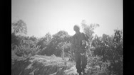 Military soldier searching spikes and pulling from punji traps Stock Footage
