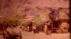 8mm film 1960 Calico Ghost Town wide shot vintage film historic Stock Footage