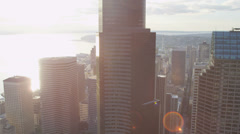 Aerial view Downtown Seattle Columbia Centre and Seattle Municipal Tower, USA Stock Footage