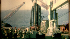 8mm film 1960s pan of a aircraft carrier vintage film historic Stock Footage
