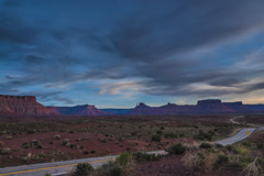 Route 128 near Moab Utah at Sunset Castle Valley, Parriot Mesa, Timelapse Stock Footage