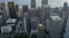 Aerial close up view Pacific west coast modern Urban city, Seattle Stock Footage