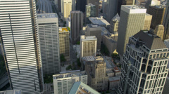 Aerial vertical rooftop view modern elevated city highway Seattle, USA Stock Footage