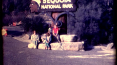 8mm film of Sequoia National Park sign with people 1960s vintage film historic Stock Footage