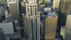 Aerial Downtown Seattle financial district, USA - stock footage