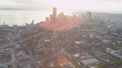 Aerial view of Seattle Business Center, USA Stock Footage
