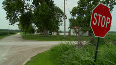 Kansas crossroads stop sign Stock Footage