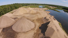 Aerial Commercial Sand Quarry Stock Footage