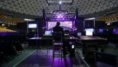 Lighting test in venue for concert. Dolly was used Stock Footage