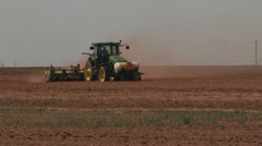 Tractor planting cotton Stock Footage