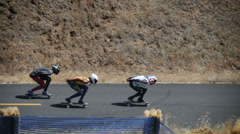 Skateboard Race at Maryhill Loops Rd in Goldendale WA Stock Footage