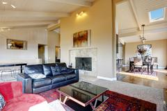 Living room interior with high ceiling in luxury house Stock Photos