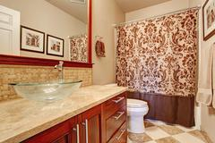 Modern bathroom interior in soft brown tones Stock Photos