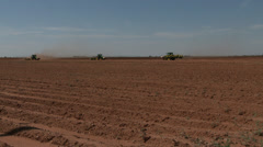 Tractors planting cotton  Stock Footage