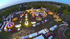 Night-time Carnival Flyover at Kielbasa Fest [Aerial] Stock Footage