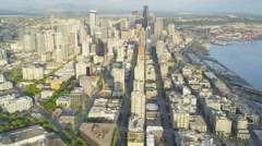 Aerial coastal view Pike Place Market, Downtown Seattle, USA - stock footage