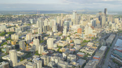 Aerial coastal view Seattle Business Center Alaskan Way Viaduct, USA Stock Footage