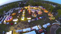Night-time Carnival Flyover at Kielbasa Fest (3) [Aerial] Stock Footage
