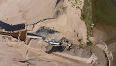 Aerial View Of A Sand Quarry And Mining Machine Stock Footage