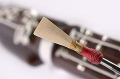 Bassoon detail, double reed mouthpiece Stock Photos