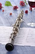Oboe with notes and summer feeling Stock Photos