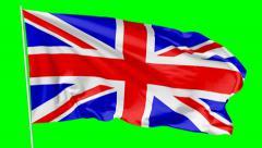 Flag of United Kingdom of Great Britain on flagpole - stock footage