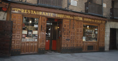 4K Sobrino de Botín one of the oldest restaurants in the world, Madrid, Spain Stock Footage