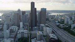 Aerial view of Columbia Center and Sea Tower Seattle, USA Stock Footage