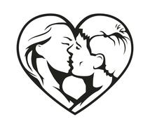 Couple kissing in the heart symbol - stock illustration