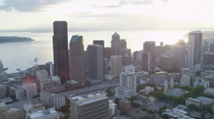 Aerial Skyscraper view of Columbia Center modern city Highways Seattle Stock Footage