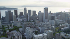 Aerial Skyscraper view of modern city Highways Seattle Business Center Stock Footage