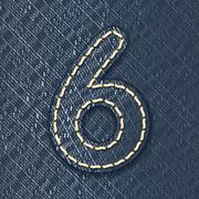 number 6 made from jeans fabric - stock illustration