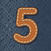 Stock Illustration of number 5 made from leather on jeans background
