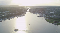 Aerial view Gas Works Park Lake Union Seattle, USA Stock Footage