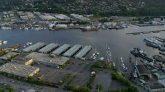 Aerial view of Lake Washington Ship Canal, Seattle, USA Stock Footage