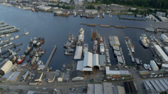 Aerial view of Lake Washington Ship Canal, Seattle Stock Footage