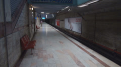 Empty subway station, late hour in night, public transport view, quiet transit - stock footage