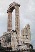 ruins of ancient apollo temple in didyma, turkey - stock photo
