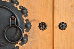 wooden door and knock door of korean style - stock photo