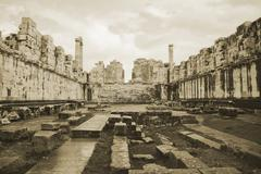Ruins of ancient apollo temple in didyma, turkey Stock Photos